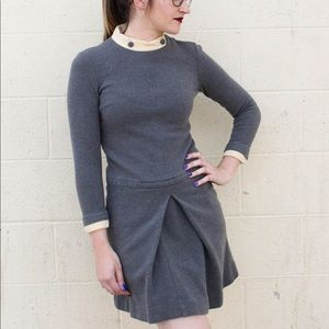 Vintage 1960's Mod Grey and Cream Mini Dress